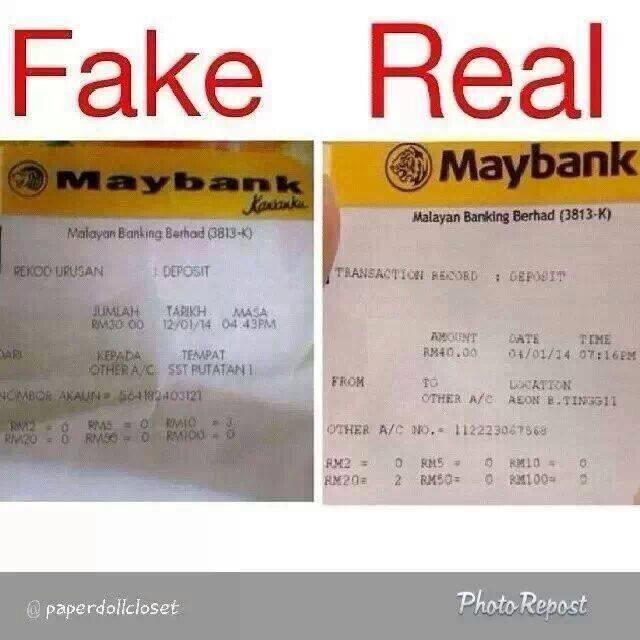 How to identify fake and real ATM slip for Maybank or CIMB?